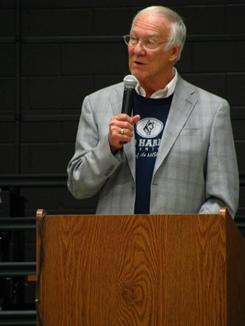 David L. Harrison Speaks at the opening of the Missouri Elementary school named for him. (Image from Wikipedia - unable to find good attribution)